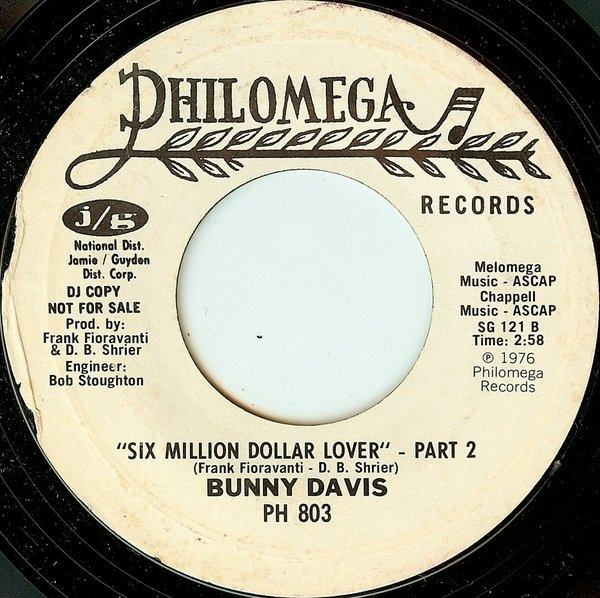 Bunny Davis - Six Million Dollar Lover cover of release