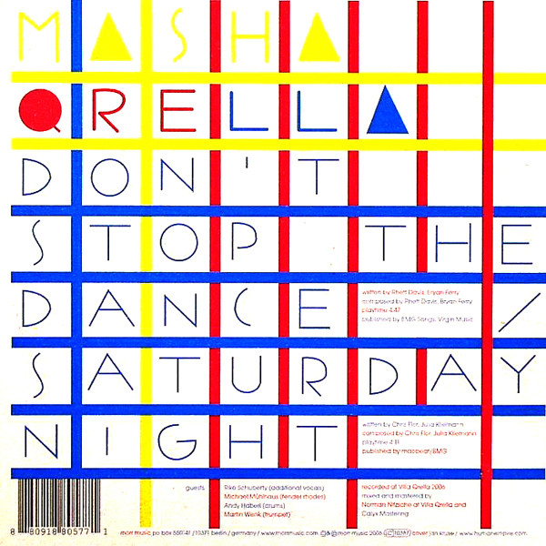Masha Qrella - Don't Stop The Dance / Saturday Night cover of release