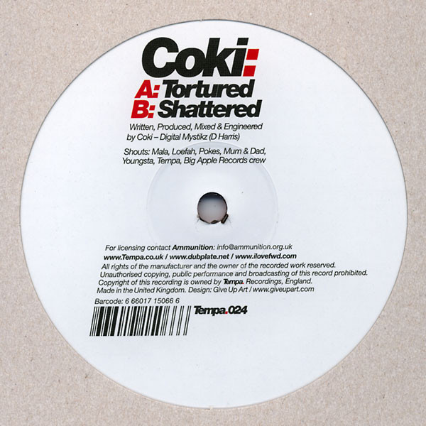 Coki - Tortured / Shattered cover of release