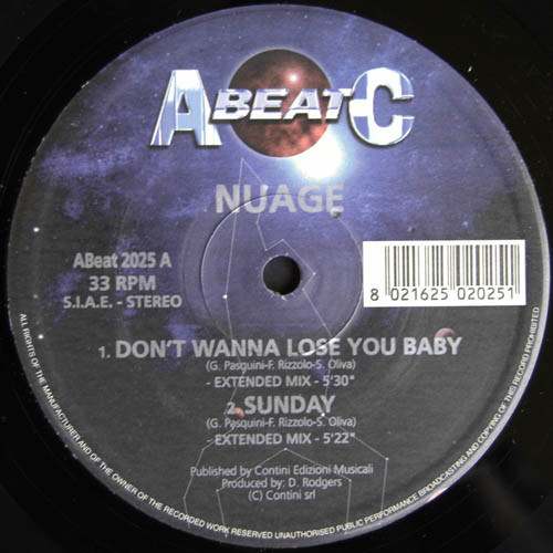 Nuage (2), Kelly Wright, Katchy Core - Don't Wanna Lose You Baby / Sunday / Don't Play With Me / Crazy For Your Love cover of release