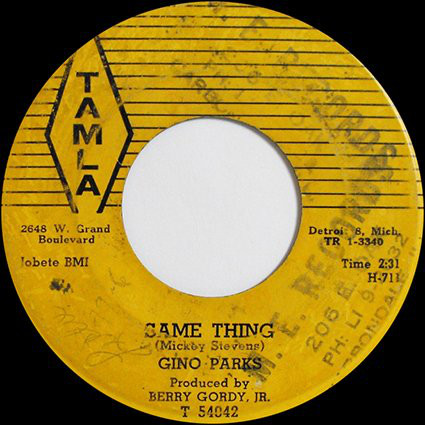 Gino Parks - Same Thing / That's No Lie cover of release
