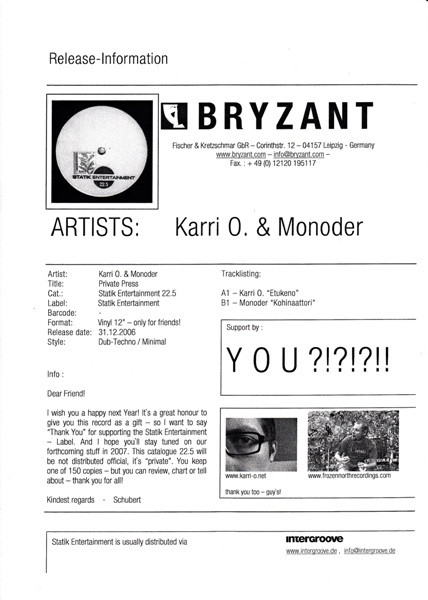 Karri O., Monoder - Private Press cover of release