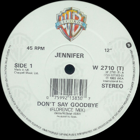 Jennifer Hall - Don't Say Goodbye (Florence Mix) cover of release